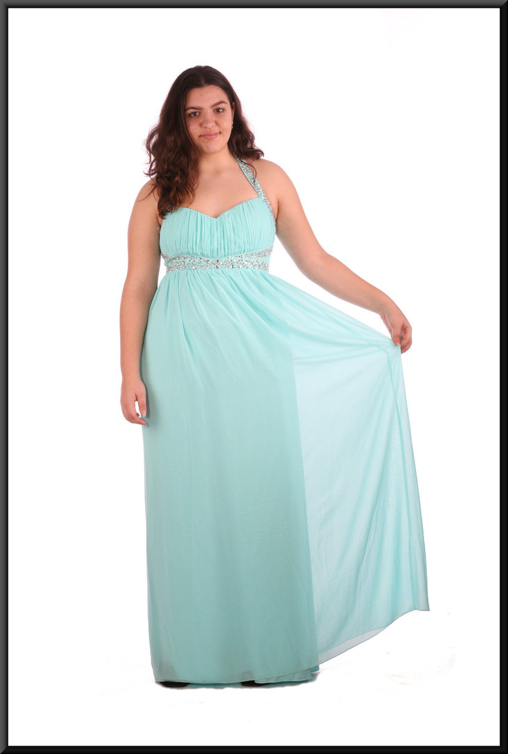 Full length chiffon over satinette evening dress with sequinned bodice and straps / 2 of 2 - pale blue, size 16; model height 5'8""