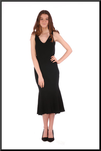 """Calf length chiffon over polyester business / cocktail dress with slightly flared hemline (EU 32) - black, size 4 / 6 / 8; model height 5'7"""""""