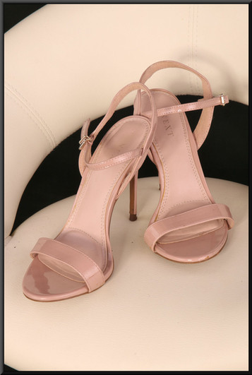 Ladies' pink patent effect stiletto sandals size not marked, believed to be size 6 by Next