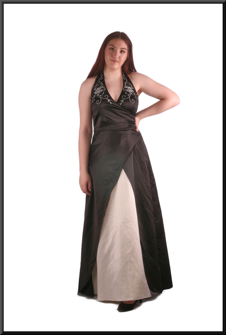 Full length halter-neck evening dress with embroidered bodice and flared double skirt black with cream front panel, size 12 / 14