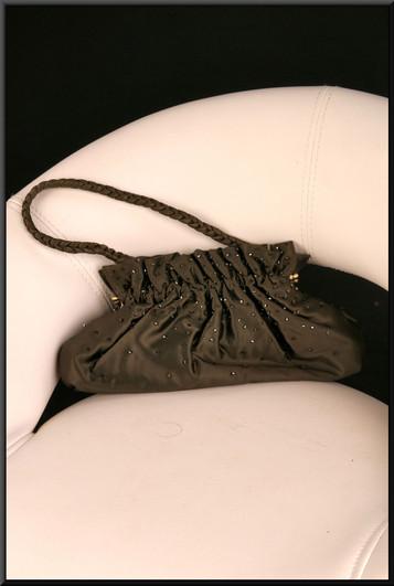 Soft fabric black satinette handbag with glitter stud embellishment