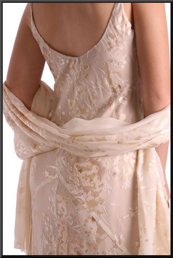 "Crochet/lace pattern full length dress, size 8 in ivory. Model height 5'5"""