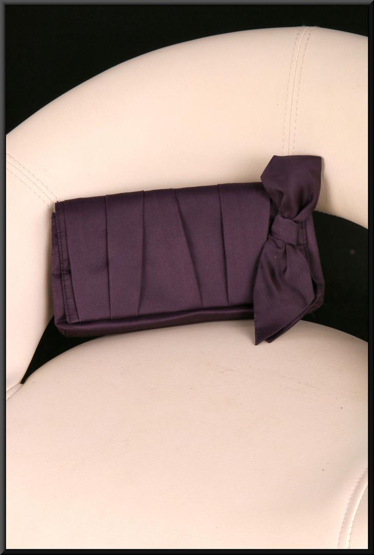 VERY dark plum satin effect clasp bag