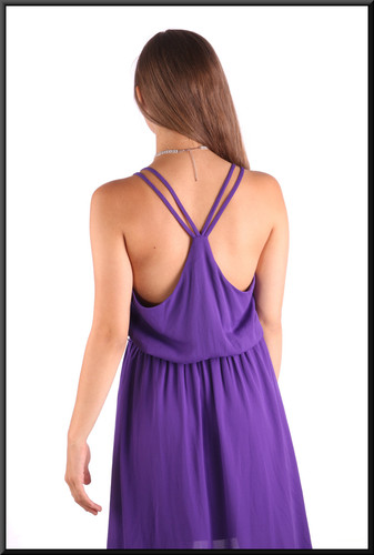 """""""Beach party"""" style lightweight cocktail / party dress with variable length hemline, mauve, size 8 / 10, model height 5'2"""""""