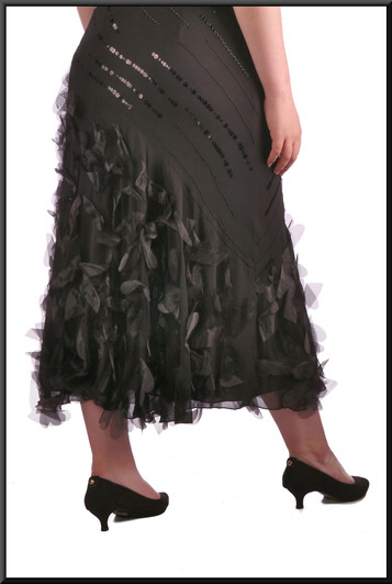 """Calf length cocktail / party dress with feather and sequin patterns, black, size 16, model height 5'7"""""""