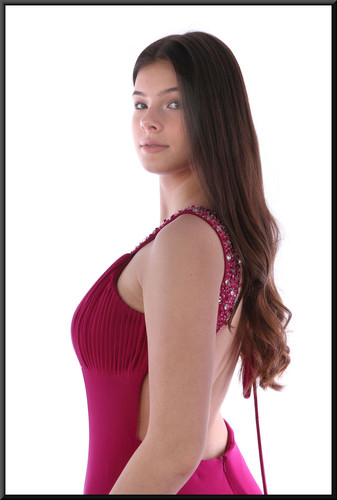 """Full length backless evening dress with diamanté upper bodice and collar, size 8 in burgundy Model height 5'10"""""""