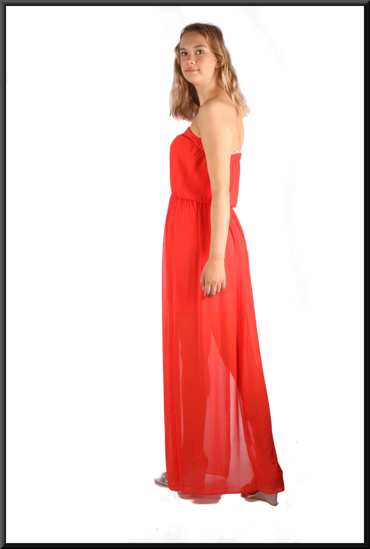 Strapless boho style summer dress, comprising mini-skirt with long chiffon over-dress, vermilion, size 10, model height 5'10""