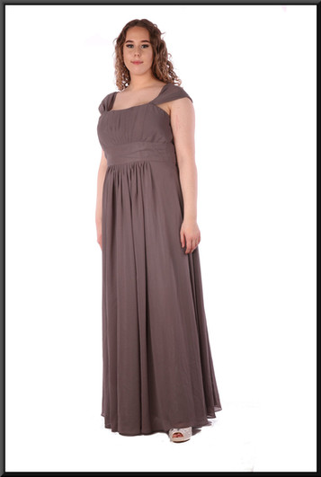 """Full length voile over satinette bridesmaid dress with full skirt, size 14 / 16 in dark grey with a hint of green. Model height 5'7"""""""