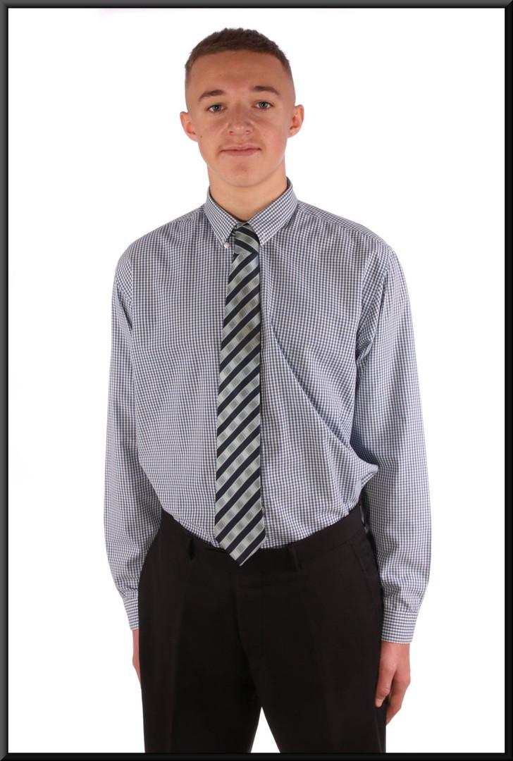 Men's shirt collar 16.5 slim-fit blue and white hatching pattern