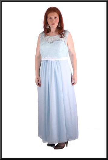 """""""Elsa"""" Frozen-style chiffon with full fit embroidered bodice and corset tie / satinette skirt , powder blue, size 22, model height 5'7"""""""