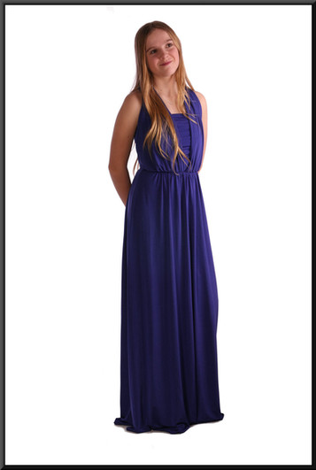 Greek goddess style full length with full length rear bow - royal blue