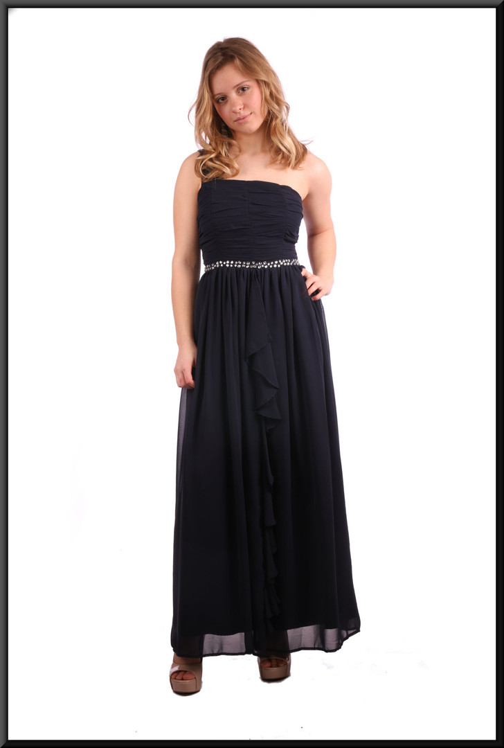 Single strap full length evening dress with full double skirt - navy blue; model height 5'3""