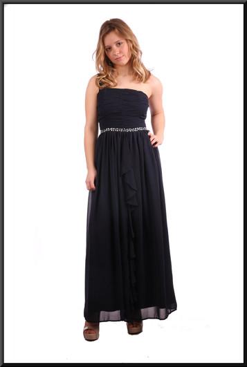 """Single strap full length evening dress with full double skirt - navy blue; model height 5'3"""""""