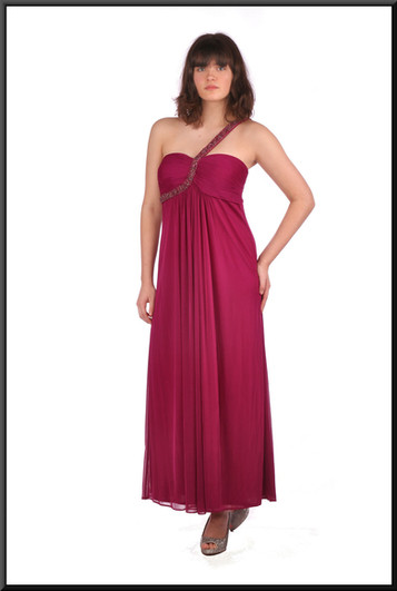 Ankle length flowing evening dress chiffon over polyester jewelled shoulder strap, burgundy
