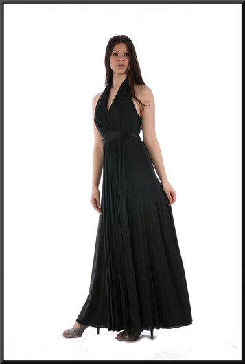 """Full length classic evening dress with full skirt in chiffon-like blend with silk tie - very dark greenish grey, size 8. Model height 5'10"""""""