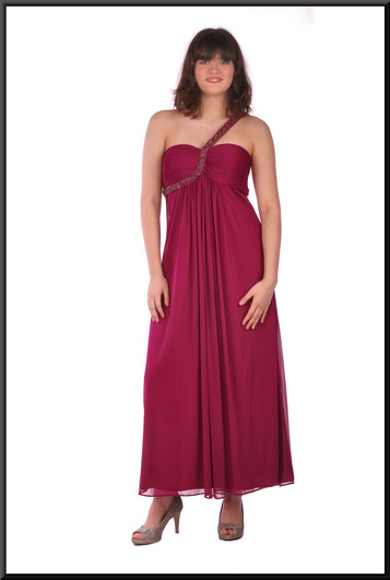 """Ankle length flowing evening dress chiffon over polyester jewelled shoulder strap - burgundy, size 12. Model height 5'10"""""""