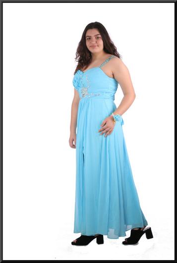 "Full length split skirt chiffon over satinette dress with sequinned bodice / straps and floral bracelet - blue, size 16; model height 5'8"""