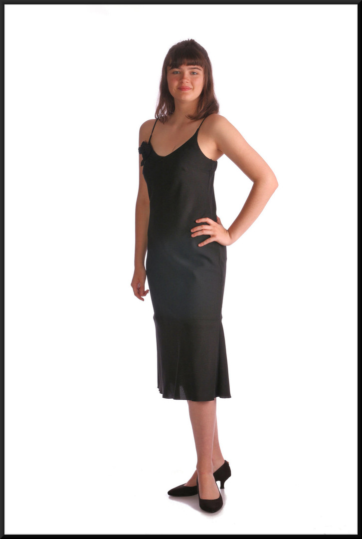 Simple polyester cocktail dress with black rose embellishment, black, size 10 / 12, model height 5'10""