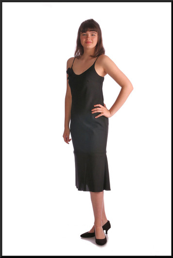 """Simple polyester cocktail dress with black rose embellishment, black, size 10 / 12, model height 5'10"""""""