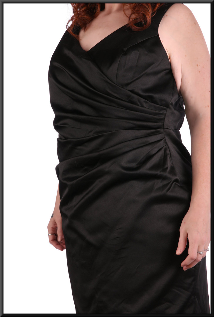 Thirties style satin full length evening dress with slightly flared skirt with corset tie, black, size 20, model height 5'7""
