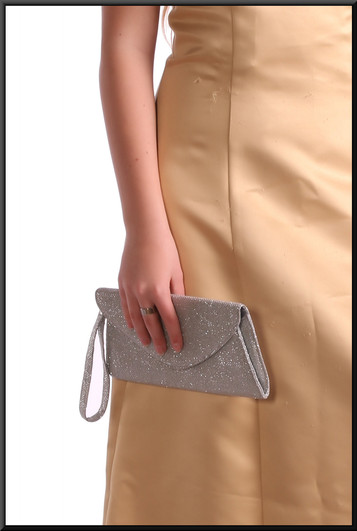 Silver jewel effect clasp bag