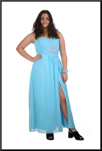 Full length split skirt chiffon over satinette evening dress with sequinned bodice / straps and floral bracelet - blue, size 16; model height 5'8""