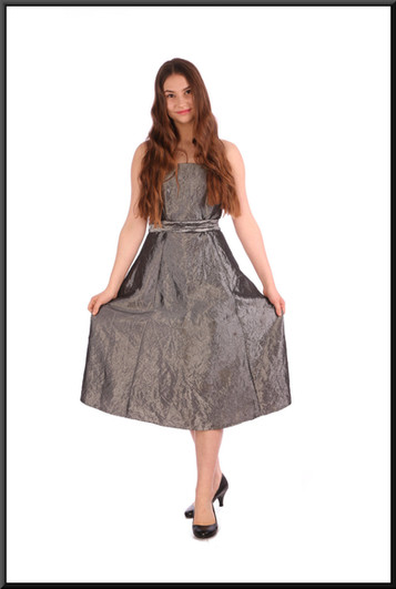 """Crushed velvet effect strapless cocktail dress - silver, size 10; model height 5'5"""" (same style dress also available in size 14)"""