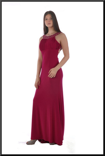 Full length backless evening dress with diamanté upper bodice and collar - brugundy