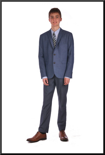 Mid blue lounge suit chest EU size 42 skinny fit waist 28 inside leg 31.  Model height 6'0""