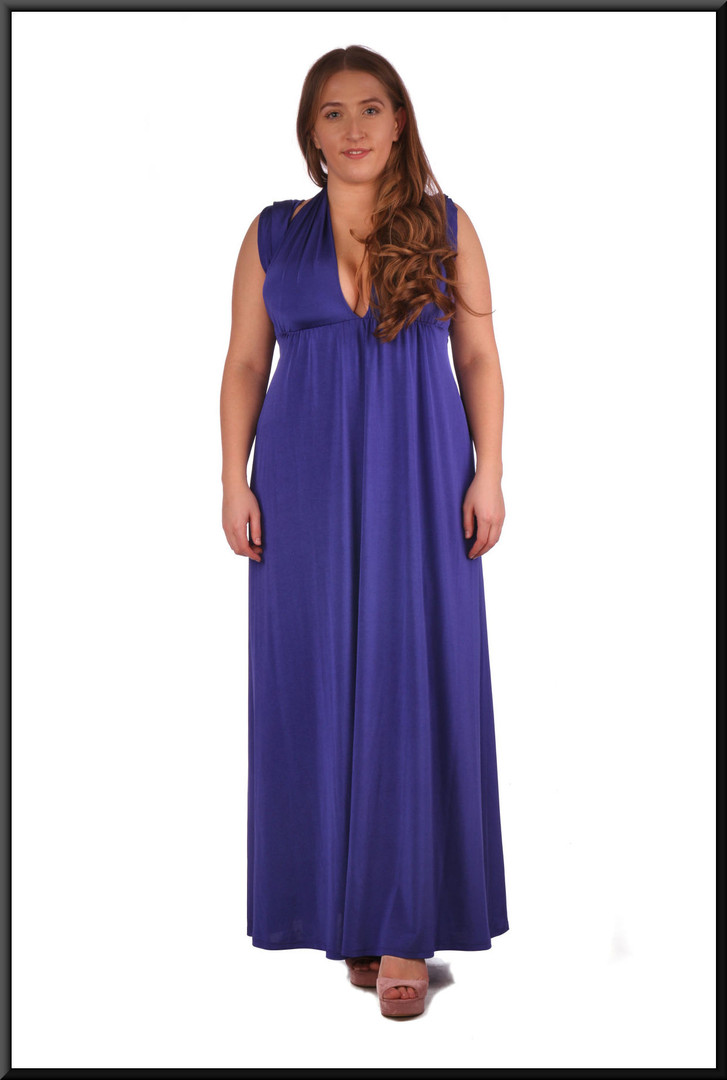 """Full length chiffon evening dress with multi-option drapes in royal blue. Bandeau also available not illustrated.  Size 14, (marked as US size 8).  Model height 5'4"""""""