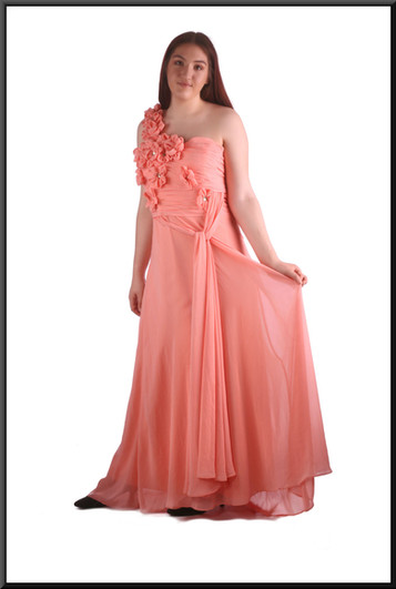 """Single-strap full length chiffon over satinette full skirt evening / bridesmaid dress, floral bodice, pink, size 14 / 16, model height 5'7"""""""