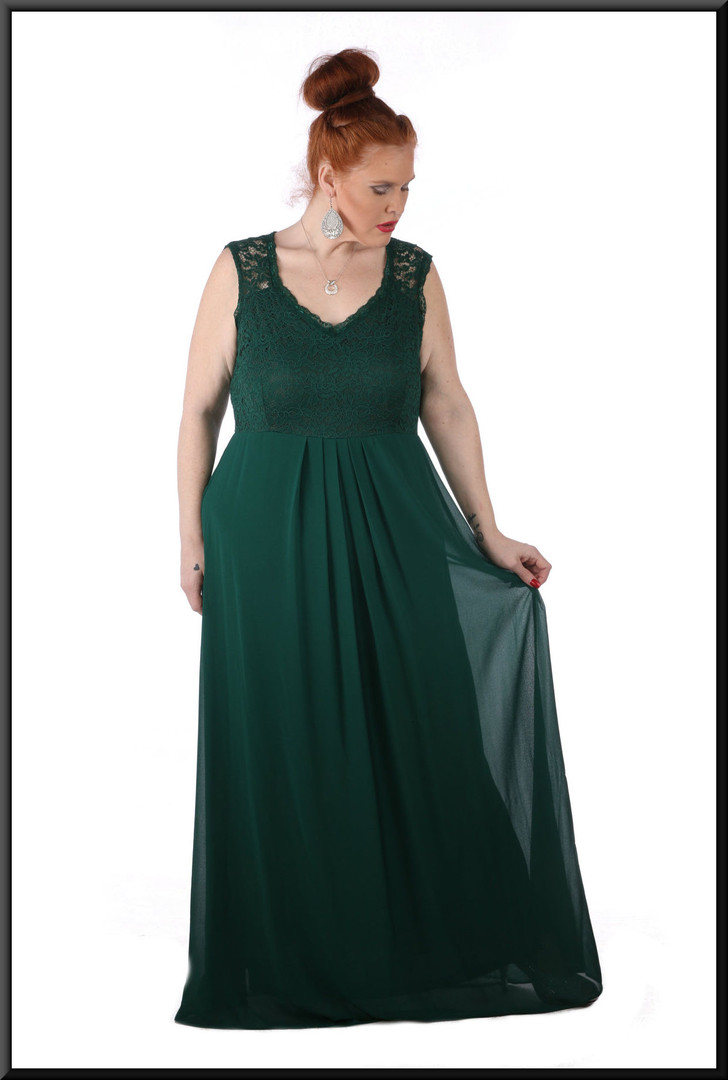 Size 18/20 100% polyester silk-effect over velvet effect skirt c/w pseudo-crochet bust - bottle green