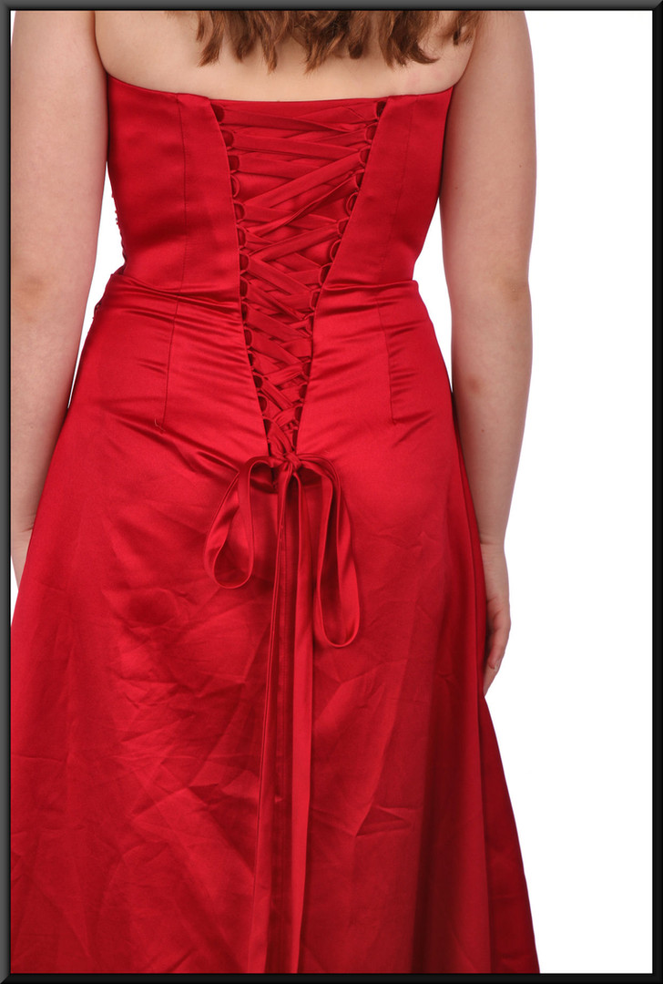 Strapless satin effect evening with ruched bodice and corset tie - red, size 10 / 12.  Model height 5'7""