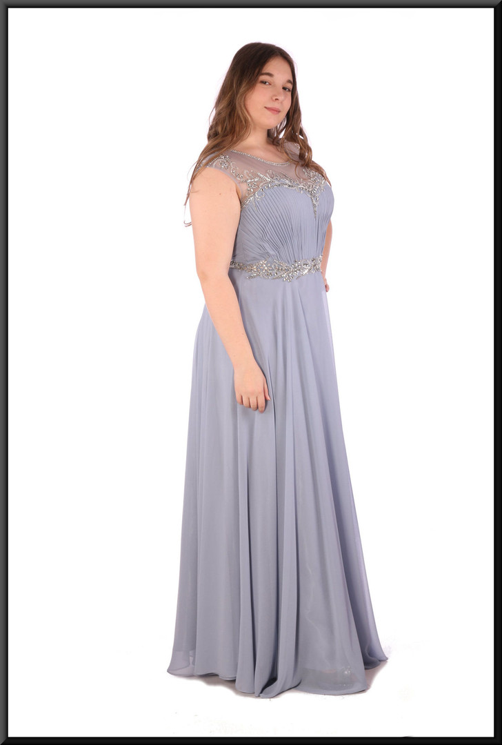 Full length chiffon over satinette evening dress with bejewelled bodice - pale blue, size 14.  Model height 5'7""