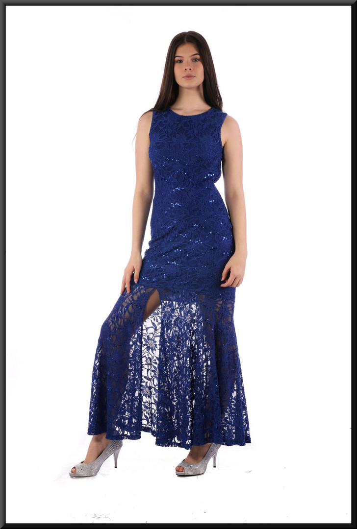 Short dress topped with a spilt net sequinned over-skirt and bodice, royal blue