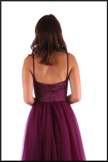 """Full length multi-layered bridesmaid / evening dress / ball gown, plum, size 12 (might fit 10), model height 5'7"""""""
