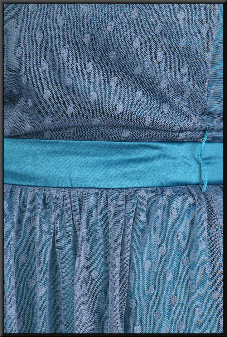Three quarter length dress layered chiffon over satin underlay - dark turquoise, size 14.  Model height 5'4""
