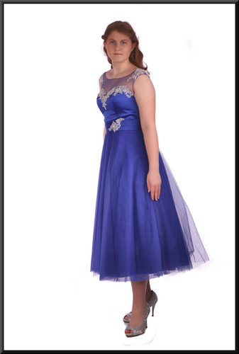 Ballroom style calf length net bridesmaid / cocktail dress with embroidered bodice, royal blue