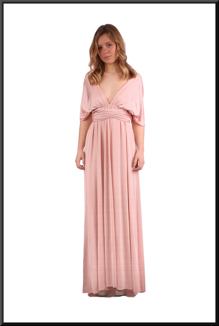 """Full length backless classic evening dress - dusky pink, size 10. Model height 5'3"""""""