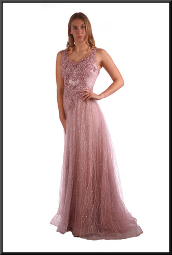 Full length multi-layer embellished chiffon over satin classic evening dress - dusky pink, size 6 / 8 / 10; model height 5'9""