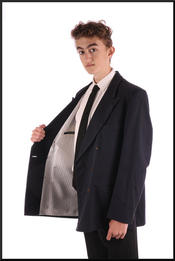 Jacket only marked L – silver pinstripe lining – est chest 36, navy blue