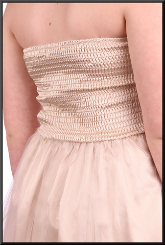 Multi-layered net over satin strapless mini fairy dress - gold and silver.  Model height 5'4""