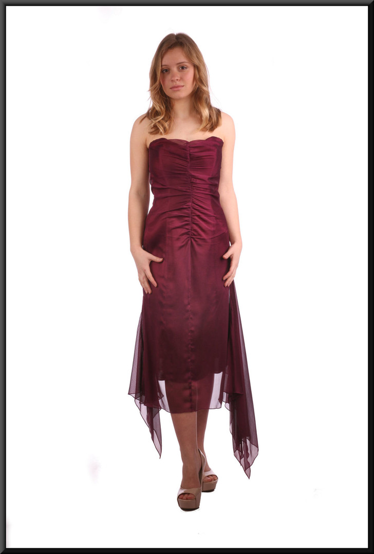 Strapless calf length cocktail dress with net flares - burgundy, size 10.  Model height 5'3""