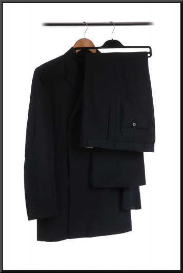 Men's d/b lounge suit with slightly flared trousers estimated chest 34 waist 32 inside leg 31 - mid blue