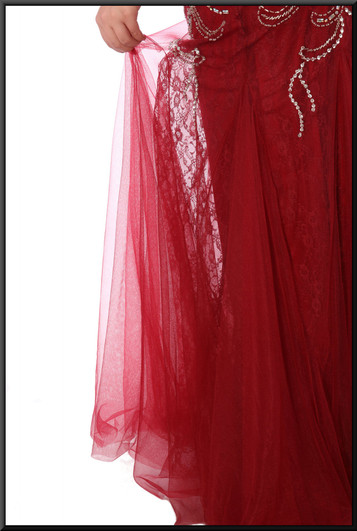 """Jessica Rabbit style flared evening dress with gold coloured bejewelled trim - burgundy red, size 14. Model height 5'7"""""""