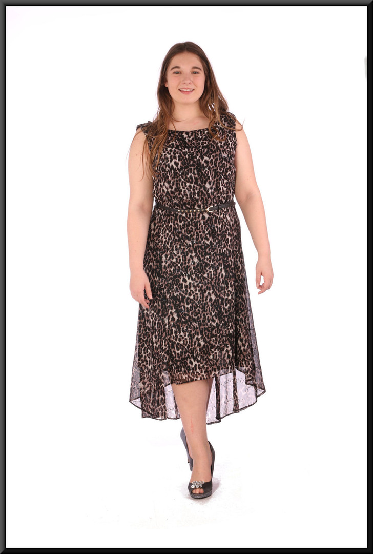 """Summer satinette mini dress with variable length chiffon over-skirt and belt - leopard print, sezie 16; model height 5'7"""""""