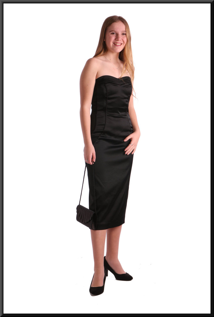 Satinette blend cocktail dress, stylised pattern seam - black - bag available as a separate accessory
