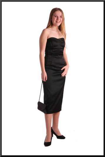 """Satinette blend cocktail dress, stylised pattern seam, size 8 in black. Model height 5'5"""".  Bag: see accessories page cat.no. A002"""