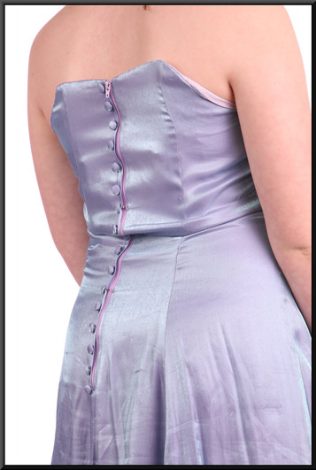 """Unusual shimmer light-catcher prismatic-effect fabric strapless ankle length dress - blue and purple, size 10 / 12 Model height 5'4"""""""