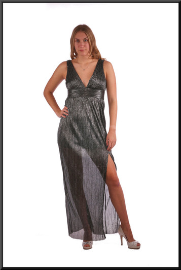 """Ankle length split skirt single layer lightweight cocktail dress - black and silver, size 10. Model height 5'9"""""""